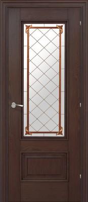 Межкомнатная дверь Халес Ромула-1 витраж Ромула 1 коньячный дуб (витраж) двери Халес серия Ромула в Минске