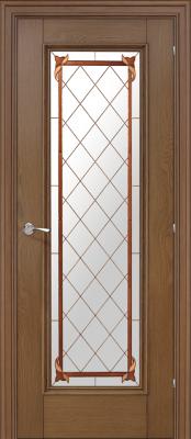 Межкомнатная дверь Халес Ромула 5 витраж Ромула 5 медовый дуб (витраж) двери Халес серия Ромула в Минске