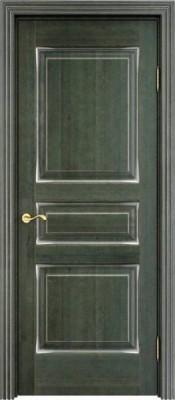 ПМЦ Ol-5 малахит патина серебро Межкомнатные двери из массива в Минске