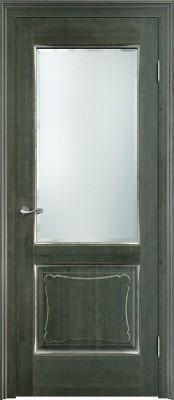 ПМЦ Ол. 6-2 зеленый/патина серебро/микрано Двери из массива ольхи в Минске