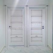 Межкомнатная дверь ПМЦ Ол.44 ПМЦ Ол.44 зеленый/патина/микрано Межкомнатные двери из массива в Минске