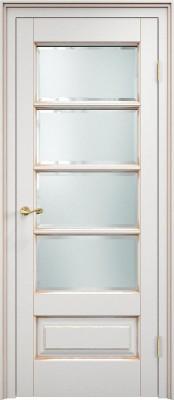 Межкомнатная дверь ПМЦ Ол.44 ст. ПМЦ Ол.44 белый грунт/патина золото Двери из массива ольхи в Минске