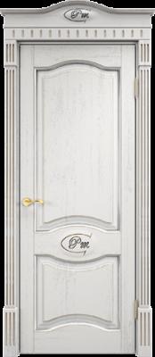 Межкомнатная дверь ПМЦ Д3 ПМЦ Д3 белый грунт+патина серебро Двери из дуба в Минске