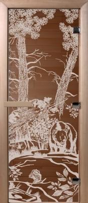 Doorwood Мишки в лесу бронза Стеклянные двери для бани в Минске