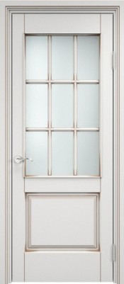 ПМЦ Ол.117/2 белый грунт+патина орех Деревянные межкомнатные двери в Минске
