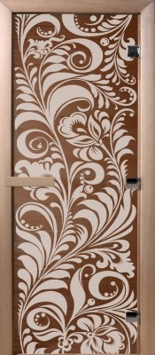Doorwood ХОХЛОМА бронза Стеклянные двери для бани в Минске